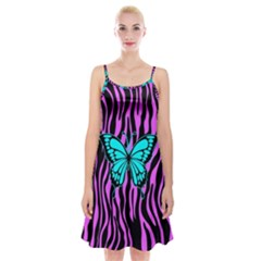 Zebra Stripes Black Pink   Butterfly Turquoise Spaghetti Strap Velvet Dress