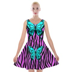 Zebra Stripes Black Pink   Butterfly Turquoise Velvet Skater Dress