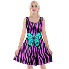 Zebra Stripes Black Pink   Butterfly Turquoise Reversible Velvet Sleeveless Dress