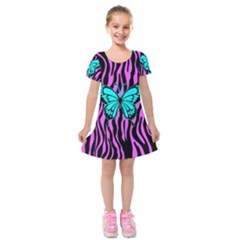 Zebra Stripes Black Pink   Butterfly Turquoise Kids  Short Sleeve Velvet Dress