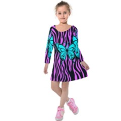 Zebra Stripes Black Pink   Butterfly Turquoise Kids  Long Sleeve Velvet Dress