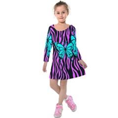 Zebra Stripes Black Pink   Butterfly Turquoise Kids  Long Sleeve Velvet Dress