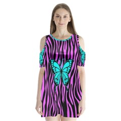 Zebra Stripes Black Pink   Butterfly Turquoise Shoulder Cutout Velvet  One Piece
