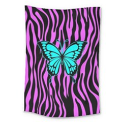 Zebra Stripes Black Pink   Butterfly Turquoise Large Tapestry
