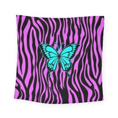 Zebra Stripes Black Pink   Butterfly Turquoise Square Tapestry (small)