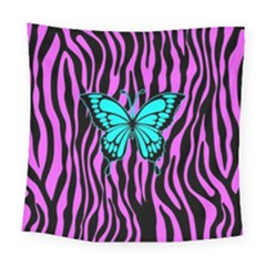 Zebra Stripes Black Pink   Butterfly Turquoise Square Tapestry (large)