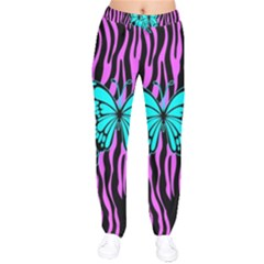 Zebra Stripes Black Pink   Butterfly Turquoise Drawstring Pants