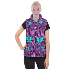 Zebra Stripes Black Pink   Butterfly Turquoise Women s Button Up Puffer Vest