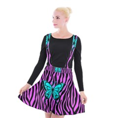 Zebra Stripes Black Pink   Butterfly Turquoise Suspender Skater Skirt