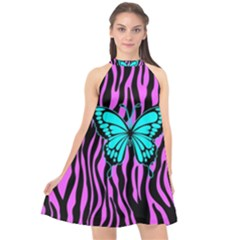 Zebra Stripes Black Pink   Butterfly Turquoise Halter Neckline Chiffon Dress