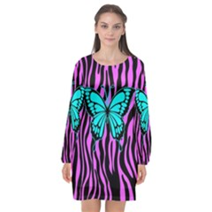 Zebra Stripes Black Pink   Butterfly Turquoise Long Sleeve Chiffon Shift Dress