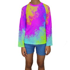 Grunge Radial Gradients Red Yellow Pink Cyan Green Kids  Long Sleeve Swimwear