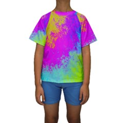 Grunge Radial Gradients Red Yellow Pink Cyan Green Kids  Short Sleeve Swimwear
