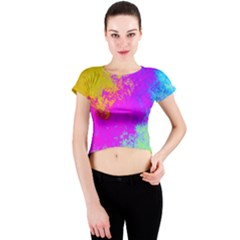 Grunge Radial Gradients Red Yellow Pink Cyan Green Crew Neck Crop Top