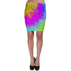 Grunge Radial Gradients Red Yellow Pink Cyan Green Bodycon Skirt