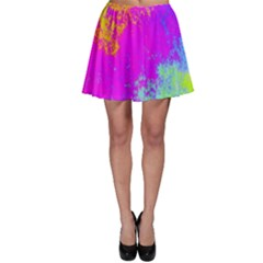 Grunge Radial Gradients Red Yellow Pink Cyan Green Skater Skirt