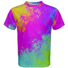 Grunge Radial Gradients Red Yellow Pink Cyan Green Men s Cotton Tee