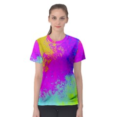 Grunge Radial Gradients Red Yellow Pink Cyan Green Women s Sport Mesh Tee
