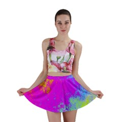 Grunge Radial Gradients Red Yellow Pink Cyan Green Mini Skirt