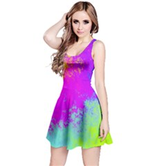 Grunge Radial Gradients Red Yellow Pink Cyan Green Reversible Sleeveless Dress