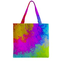 Grunge Radial Gradients Red Yellow Pink Cyan Green Grocery Tote Bag