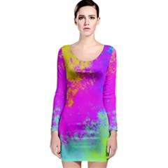 Grunge Radial Gradients Red Yellow Pink Cyan Green Long Sleeve Bodycon Dress