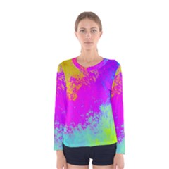 Grunge Radial Gradients Red Yellow Pink Cyan Green Women s Long Sleeve Tee