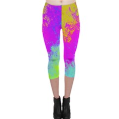 Grunge Radial Gradients Red Yellow Pink Cyan Green Capri Leggings