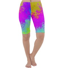Grunge Radial Gradients Red Yellow Pink Cyan Green Cropped Leggings