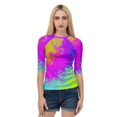 Grunge Radial Gradients Red Yellow Pink Cyan Green Quarter Sleeve Tee