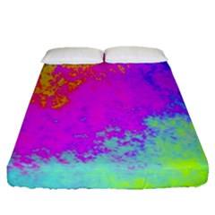 Grunge Radial Gradients Red Yellow Pink Cyan Green Fitted Sheet (queen Size)