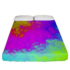 Grunge Radial Gradients Red Yellow Pink Cyan Green Fitted Sheet (california King Size)