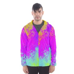 Grunge Radial Gradients Red Yellow Pink Cyan Green Hooded Wind Breaker (men)