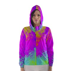 Grunge Radial Gradients Red Yellow Pink Cyan Green Hooded Wind Breaker (women)