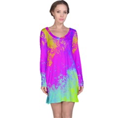 Grunge Radial Gradients Red Yellow Pink Cyan Green Long Sleeve Nightdress