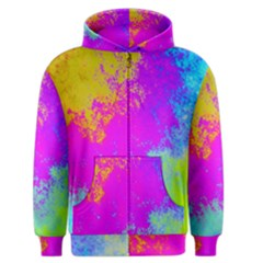 Grunge Radial Gradients Red Yellow Pink Cyan Green Men s Zipper Hoodie