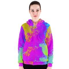 Grunge Radial Gradients Red Yellow Pink Cyan Green Women s Zipper Hoodie