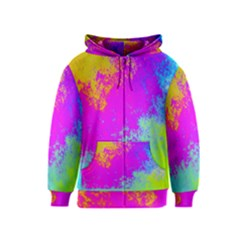 Grunge Radial Gradients Red Yellow Pink Cyan Green Kids  Zipper Hoodie