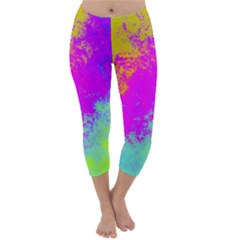 Grunge Radial Gradients Red Yellow Pink Cyan Green Capri Winter Leggings