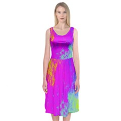 Grunge Radial Gradients Red Yellow Pink Cyan Green Midi Sleeveless Dress