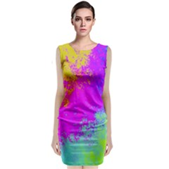 Grunge Radial Gradients Red Yellow Pink Cyan Green Classic Sleeveless Midi Dress