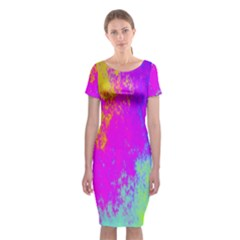 Grunge Radial Gradients Red Yellow Pink Cyan Green Classic Short Sleeve Midi Dress
