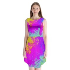 Grunge Radial Gradients Red Yellow Pink Cyan Green Sleeveless Chiffon Dress
