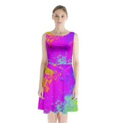 Grunge Radial Gradients Red Yellow Pink Cyan Green Sleeveless Chiffon Waist Tie Dress