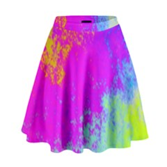 Grunge Radial Gradients Red Yellow Pink Cyan Green High Waist Skirt