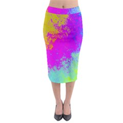 Grunge Radial Gradients Red Yellow Pink Cyan Green Midi Pencil Skirt