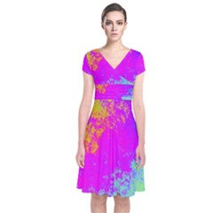Grunge Radial Gradients Red Yellow Pink Cyan Green Short Sleeve Front Wrap Dress