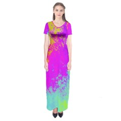 Grunge Radial Gradients Red Yellow Pink Cyan Green Short Sleeve Maxi Dress
