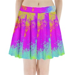 Grunge Radial Gradients Red Yellow Pink Cyan Green Pleated Mini Skirt