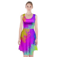 Grunge Radial Gradients Red Yellow Pink Cyan Green Racerback Midi Dress